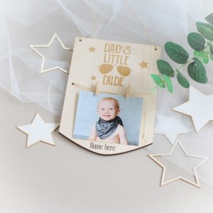 personalised fathers day wooden photo frame dad's little dude