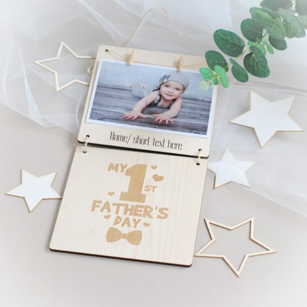 personalised fathers day wooden photo frame my 1st fathers day