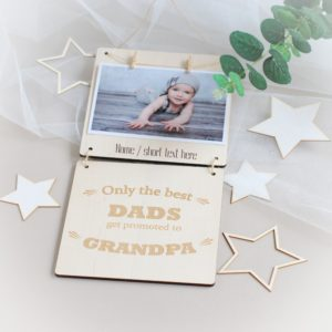 personalised fathers day photo frame only the best dads get promoted to grandpa