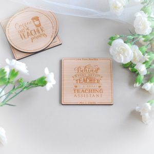 personalised thank you teaching assistant wooden drink coaster