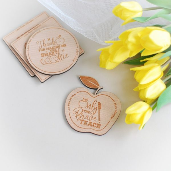 apple shape personalised thank you teacher wooden coaster