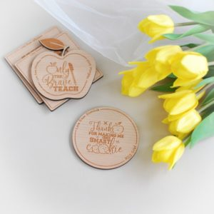 thank you teacher round personalised wooden coaster