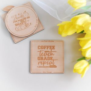 personalised thank you teacher wooden drink coaster