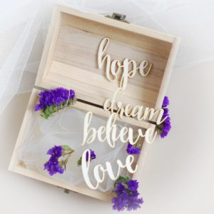 believe hope dream love words set decorative laser cut chipboards