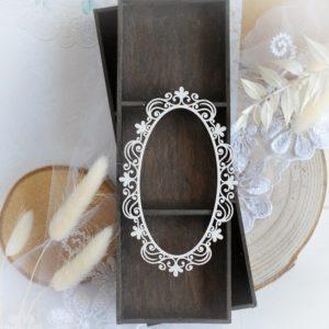 large oval decorative laser cut chipboard frame embellishment