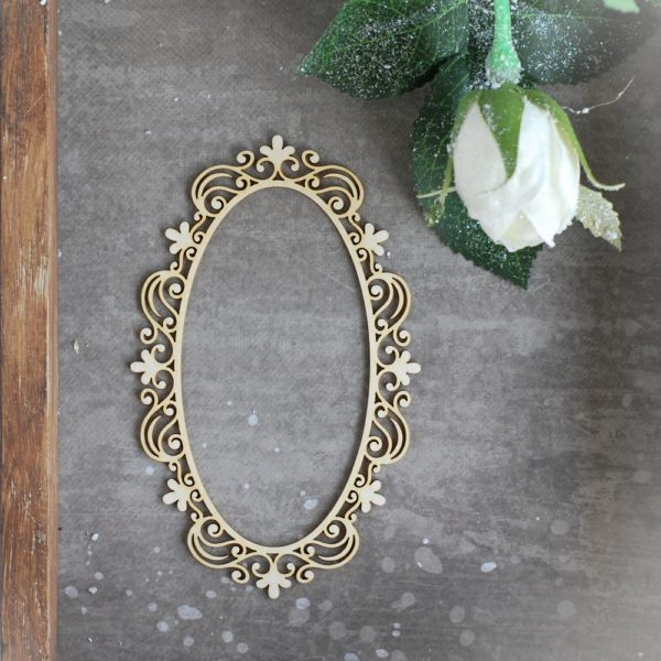 decorative oval laser cut chipboard frame