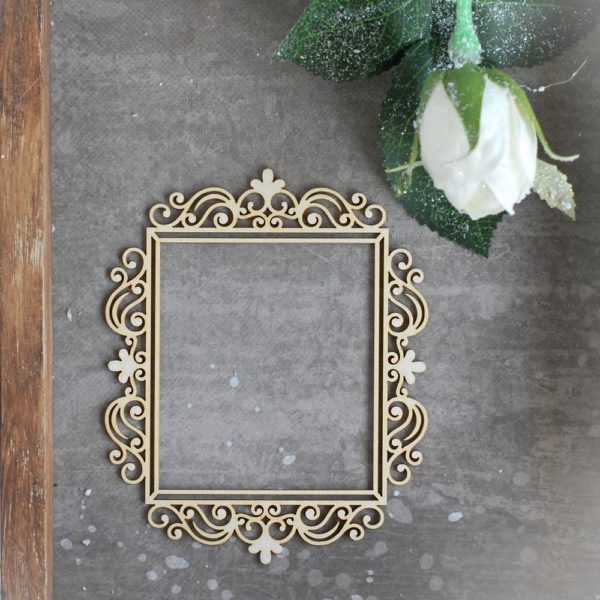 large rectangle decorative laser cut chipboard frame