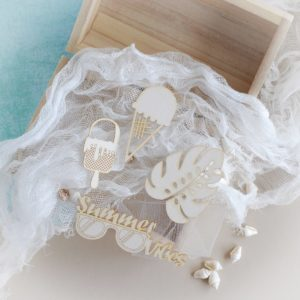 ice cream leaf summer vibes word decorative laser cut chipboard elements set