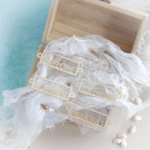 set of decorative laser cut chipboard summer adventure memories and explore words