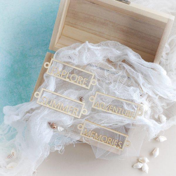 set of decorative laser cut chipboard summer adventure memories and explore words