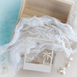 decorative laser cut chipboard polaroid frame with palm