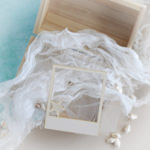 decorative laser cut chipboard polaroid frame with starfish