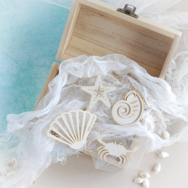 set of large decorative laser cut chipboard shells starfish and crab