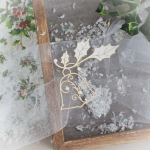 decorative laser cut chipboard bell with holly branch