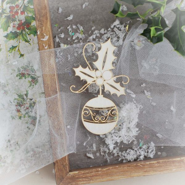 decorative laser cut chipboard bauble with holly branch