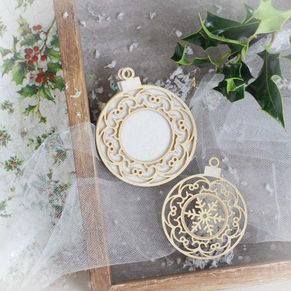 decorative laser cut chipboard baubles ornaments set