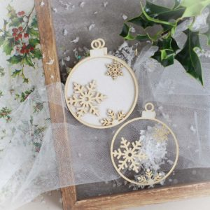 decorative laser cut chipboard christmas baubles ornaments with snowflakes set
