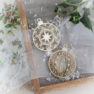 decorative laser cut chipboard baubles ornaments set