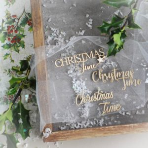 christmas time word set decorative laser cut chipboard