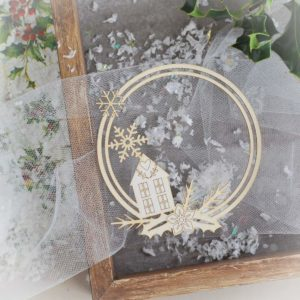 decorative laser cut chipboard with snowflakes and home