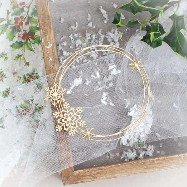 decorative laser cut chipboard christmas frame with snowflakes
