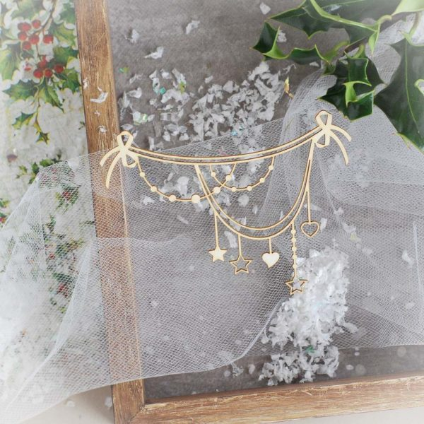 decorative laser cut chipboard christmas garland with stars and hearts