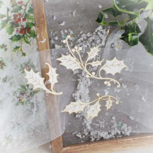decorative laser cut chipboard holly branch set