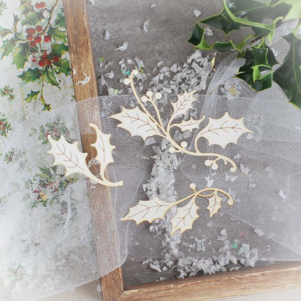 decorative laser cut chipboard holly branch set