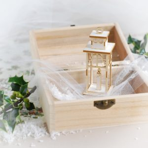 decorative laser cut 3d chipboard lantern with candle
