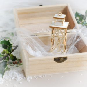 decorative laser cut chipboard 3d lantern with candle