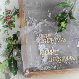 decorative laser cut chipboard merry christmas word set