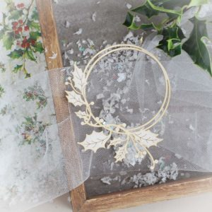 decorative laser cut chipboard christmas round frame with holly branch