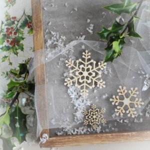 decorative laser cut chipboard snowflakes set