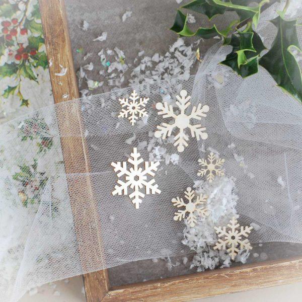 decorative laser cut chipboard snowflakes set