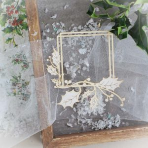 decorative laser cut chipboard square christmas frame with holly branch