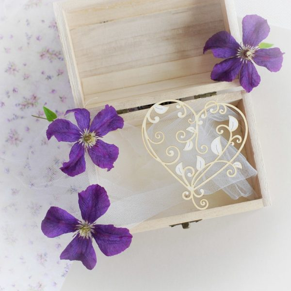 decorative laser cut chipboart heart with leaves and swirls