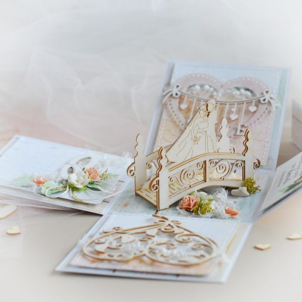 personalised mr and mrs wedding exploding box card with 3d chipboard bridge bride groom wedding ring love banner and decorative heart
