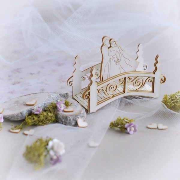 3d wedding bridge with bride and groom decorative laser cut chipboard