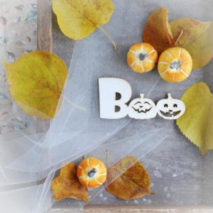 boo with pumpkins decorative laser cut chipboard