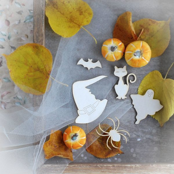 halloween decorative laser cut chipboard elements set of cat bat ghost spider hat