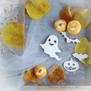 halloween decorative laser cut chipboard elements ghost bats and pumpkin