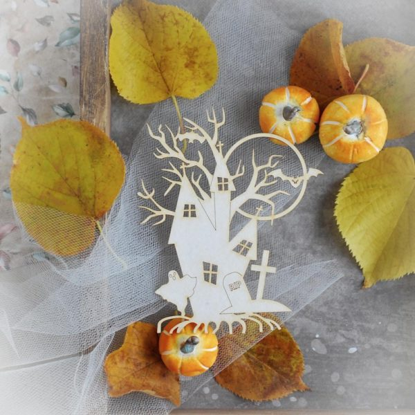 halloween decorative laser cut chipboard haunted house