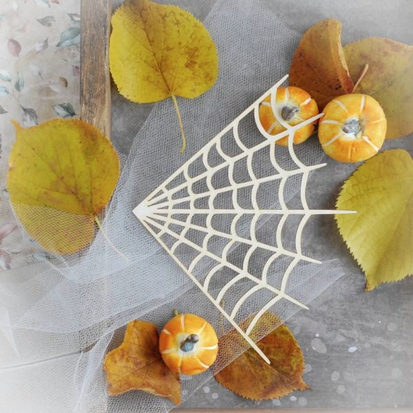 halloween spider web decorative laser cut chipboard