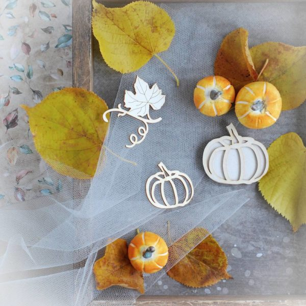 halloween pumpkins and flourish laser cut chipboard elements