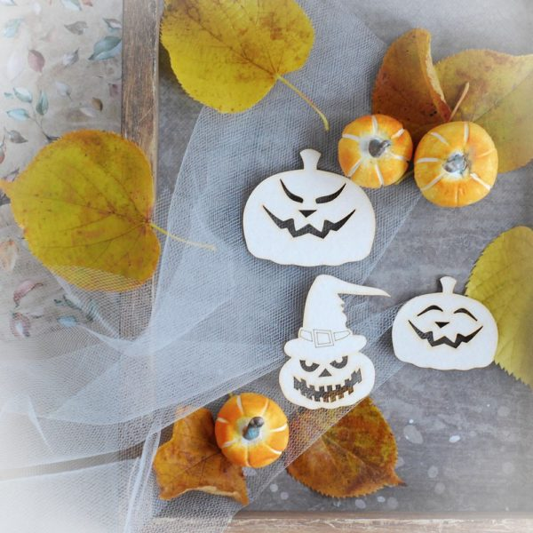 halloween pumpkins decorative laser cut chipboard elements