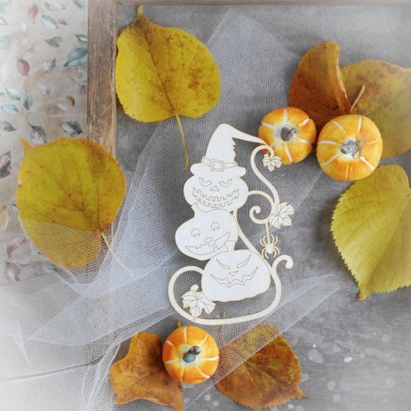 halloween pyramid of pumpkins decorative laser cut chipboard