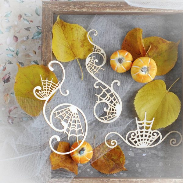 halloween decorative laser cut chipboard flourishes set