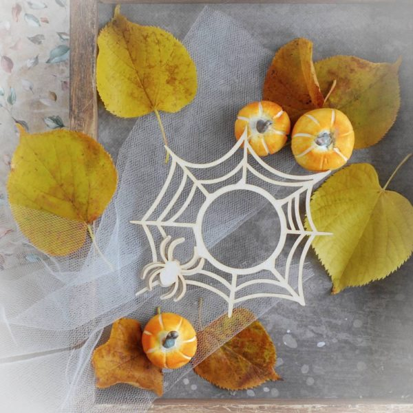 halloween spide wed frame with spider decorative laser cut chipboard
