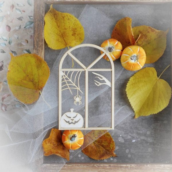 2 layer halloween window frame decorative laser cut chipboard