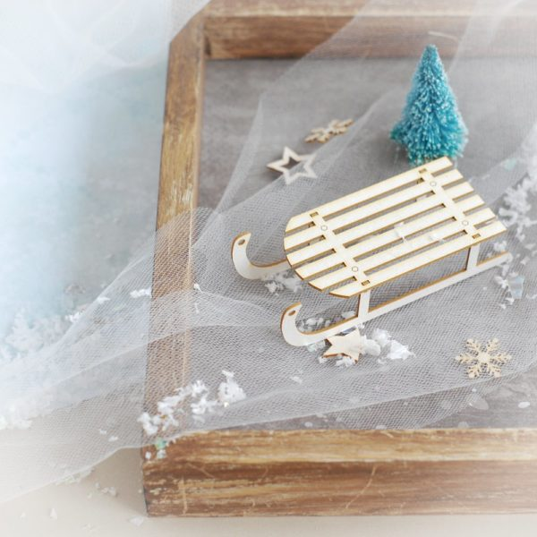 3d sled sledge decorative laser cut chipboard